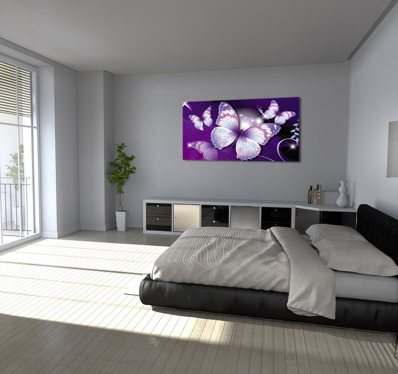 Tableau animaux violet butterfly - Cadre photo mural design ...