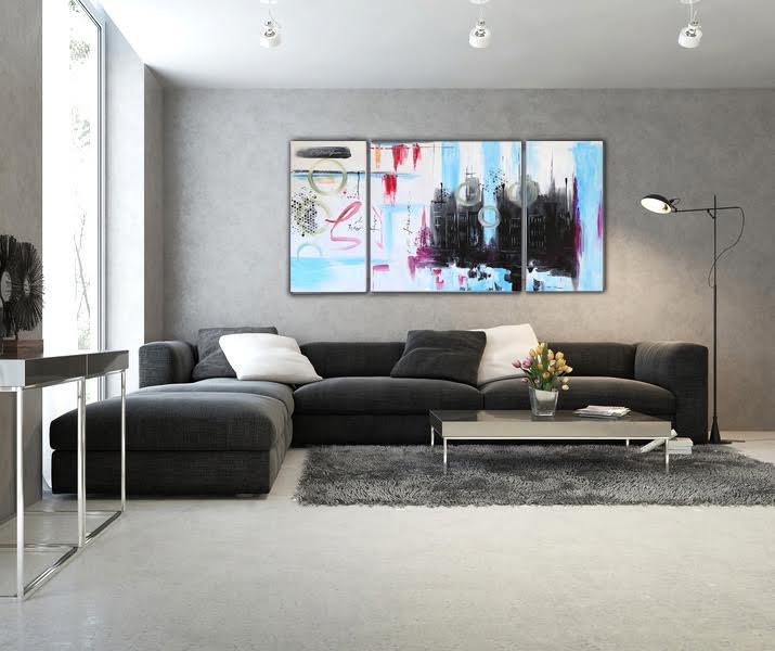 Tableau peinture abstrait coloré de dessins dans une toile moderne au ton bleuté