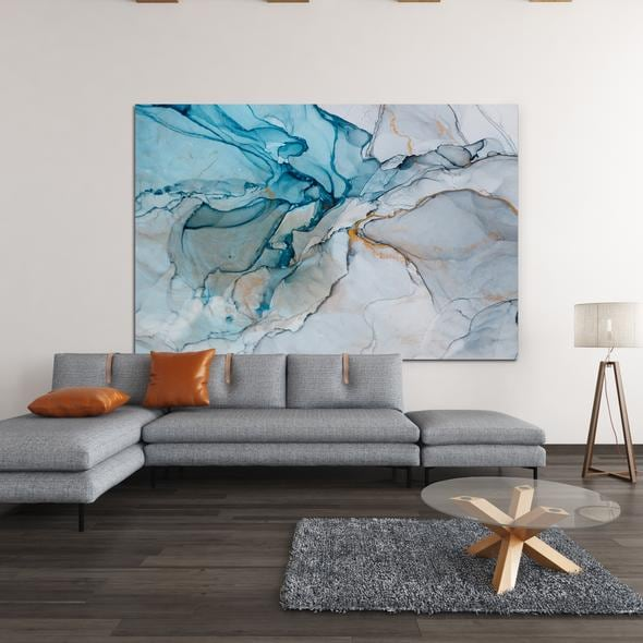 Abstract ice wall decoration on canvas for a design interior