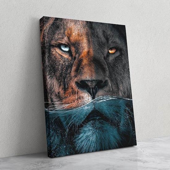 Design lion canvas print wall art with brillant colors