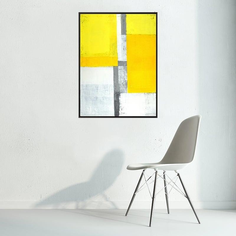 Tableau minimaliste design jaune pour un intérieur élégant