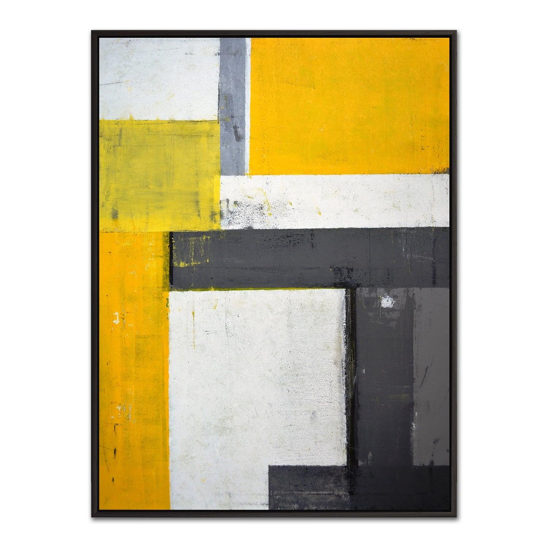 Tableau minimaliste jaune et gris avec son cadre noir pour une touche d'art