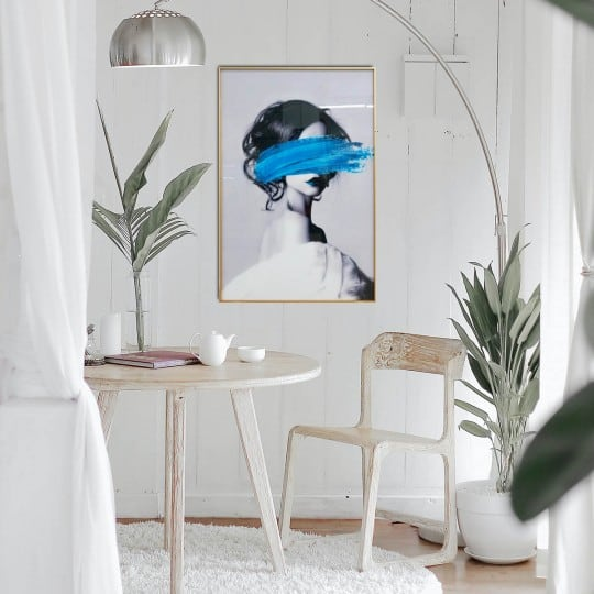 Decorative wall art canvas design of a fashion woman with blue paint