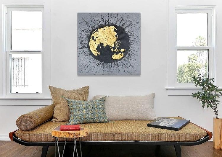 Tableau peinture planisphère doré en décoration murale design