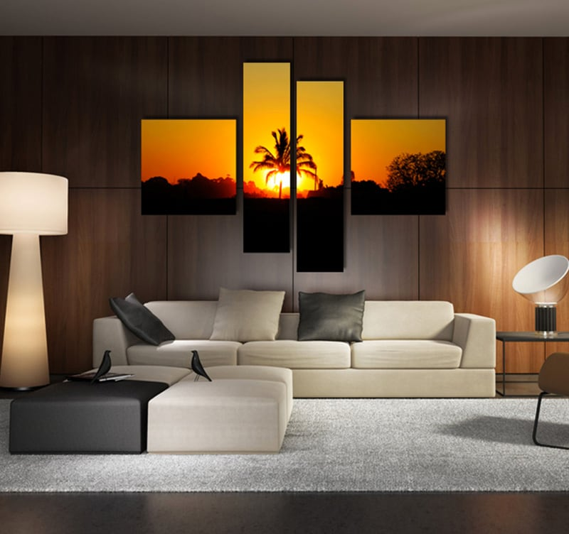 tableau paysage palm sun. Black Bedroom Furniture Sets. Home Design Ideas
