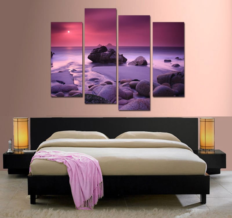 Purple beach on a design frame to create a cool atmosphere in your interior decoration