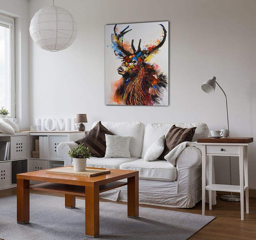 Toile peinture abstraite d'un cerfs coloré et majestueux