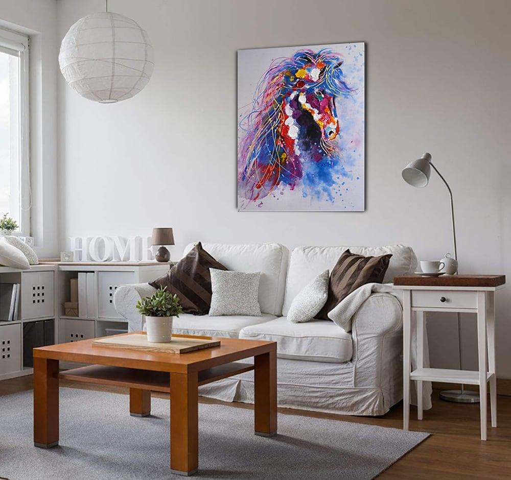 Toile peinture moderne d'un cheval aux couleurs uniques