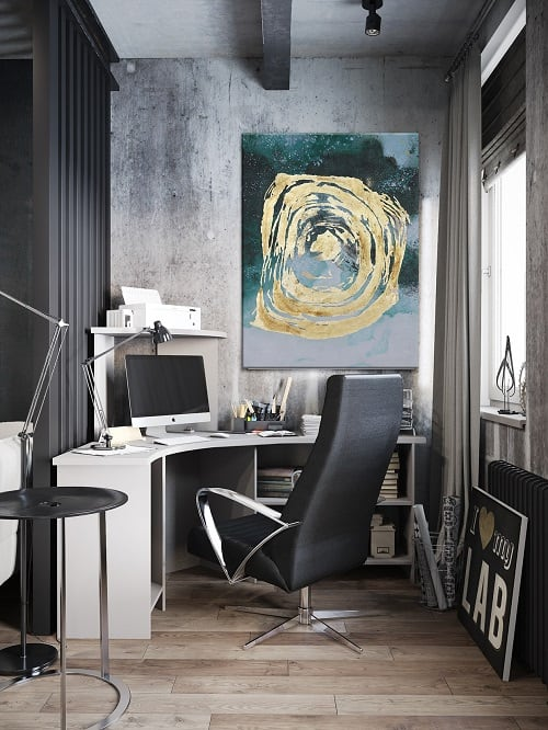 Design and modern wall oil painting with blue and gold colors