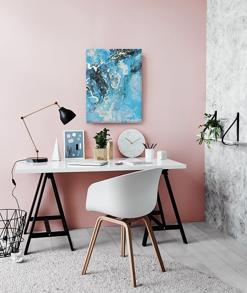 Blue marble design oil painting for a stylish interior and a modern wall deco