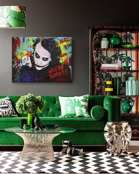 pop art painting of the joker for a cool and stylish wall decoration