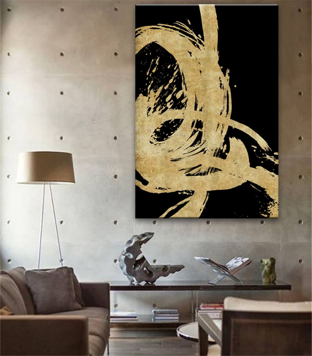 Modern oil painting decoration with a modern gold touch