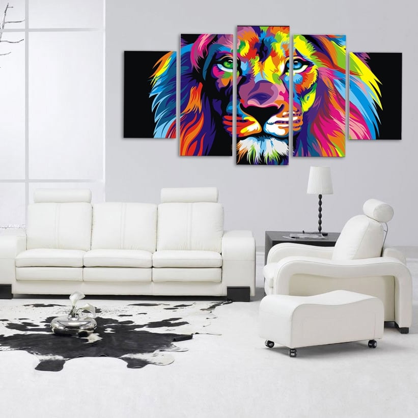grand tableau pop art lion artwall and co. Black Bedroom Furniture Sets. Home Design Ideas