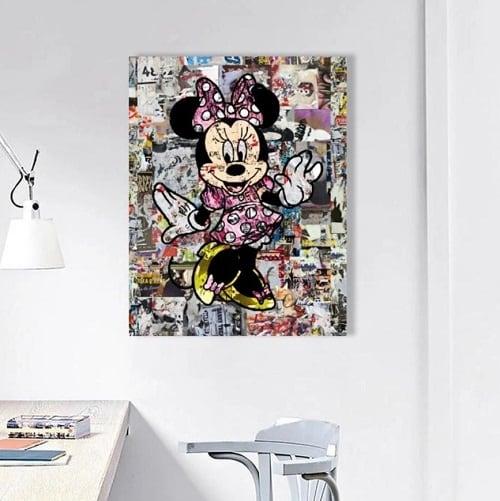 Tableau street art de Minnie pour une décoration murale pop art