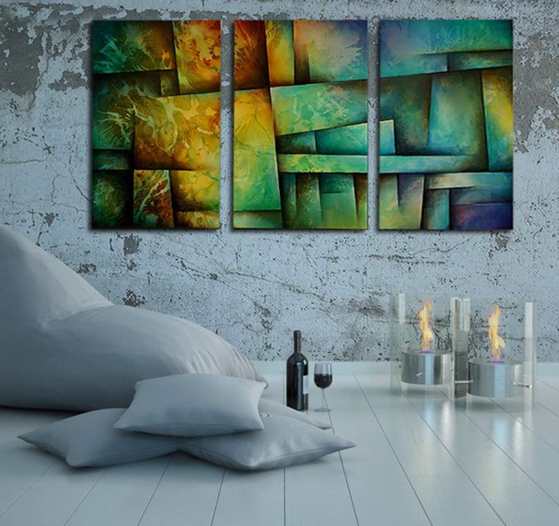 tableau triptyque abstract urban art