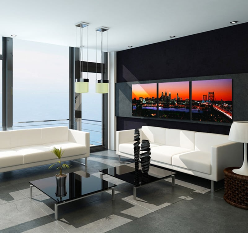 tableau ville manhattan sunset. Black Bedroom Furniture Sets. Home Design Ideas