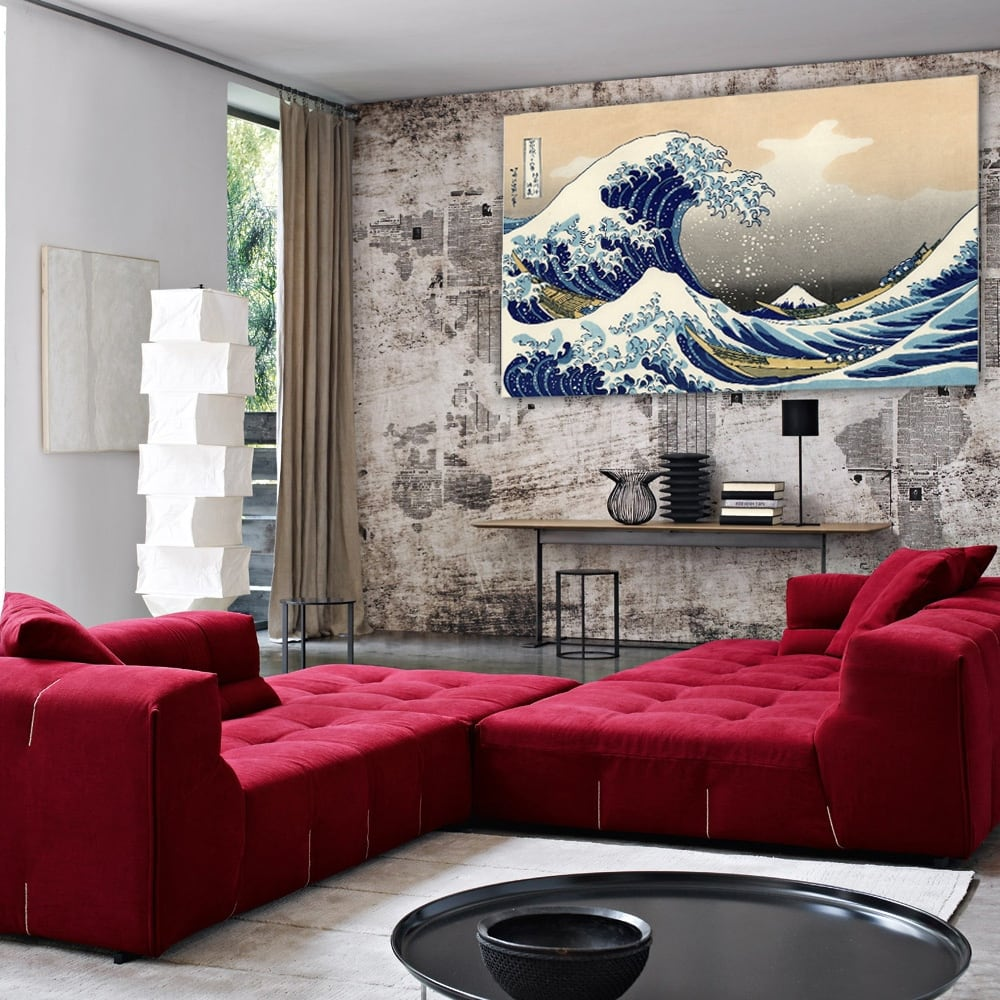 Kanagawa's wave design canvas for wall decoration