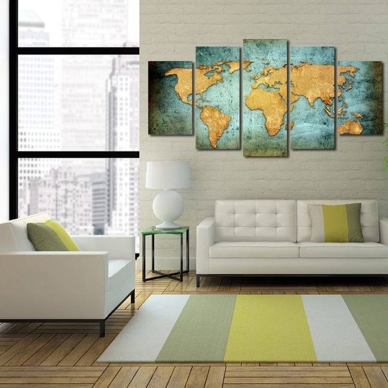 XXL world map canvas print for a design interior