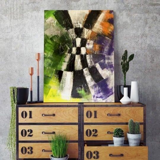 Tableau abstrait damier avec des effets de peintures pour votre déco murale salon