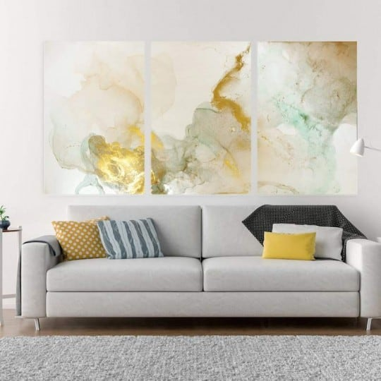 Abstract printed canvas with yellow smoke for a contemporary wall decoration
