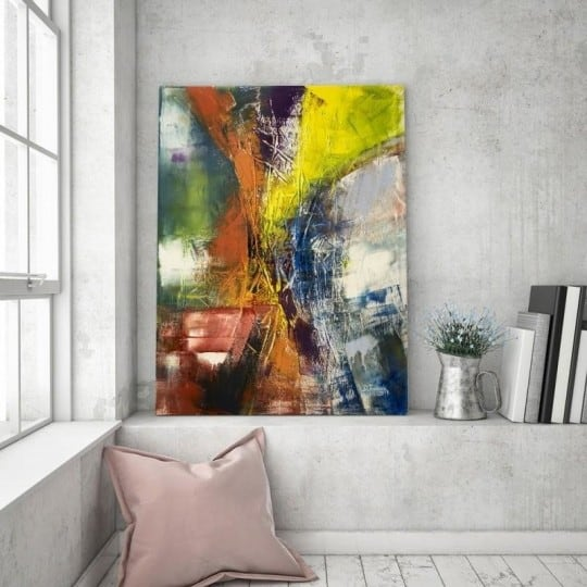 Abstract yellow wall canvas for a unique interior decoration