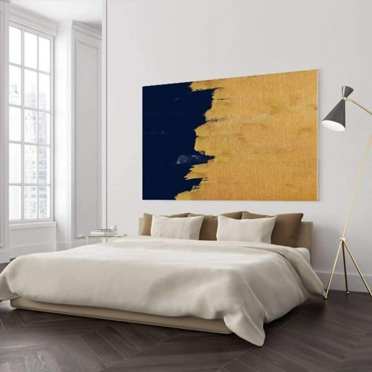 Abstract wall canvas print for a blue and gold wall decoration