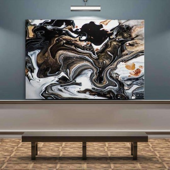 Abstract canvas print with black and white marble for interior