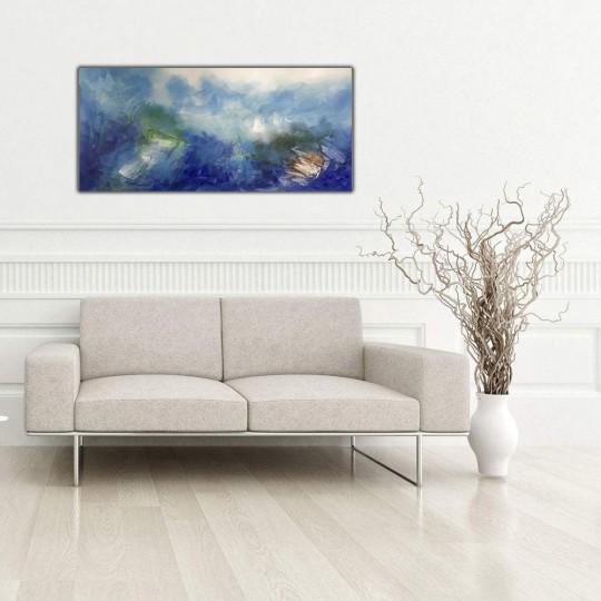 Toile peinture abstraite bleu océan réalisée à la main