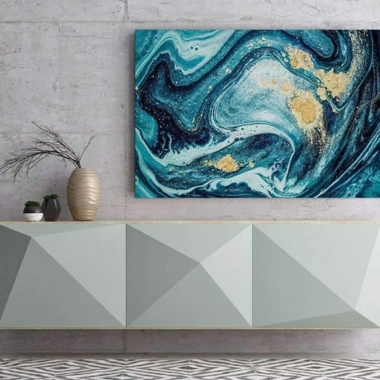 Wall abstract canvas print blue ocean marble for a contemporary wall decoration