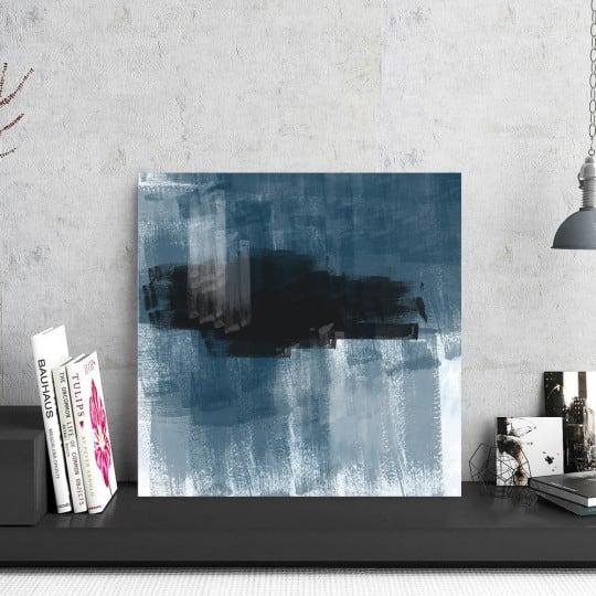 Photo d'art abstrait sur aluminium pour une décoration murale bleue