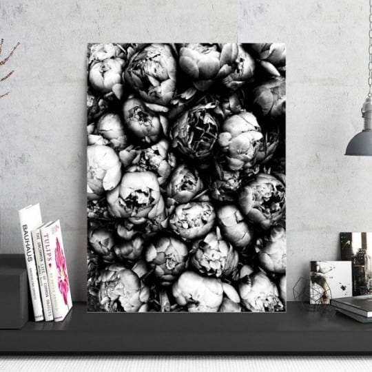 Peonies aluminium wall decoration for a trendy interior