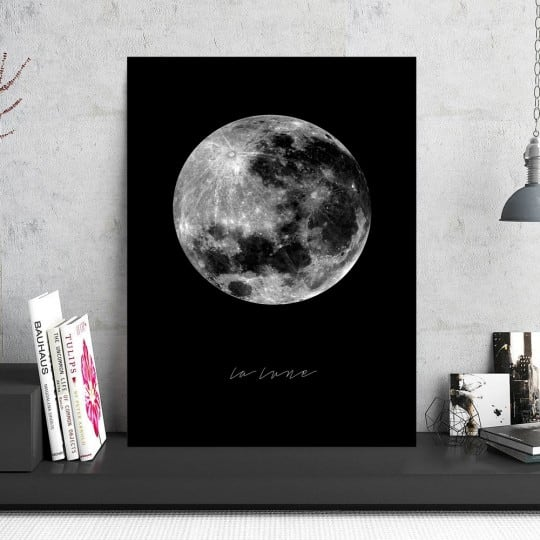 Photo d'art d'une pleine lune noire sur un tableau aluminium