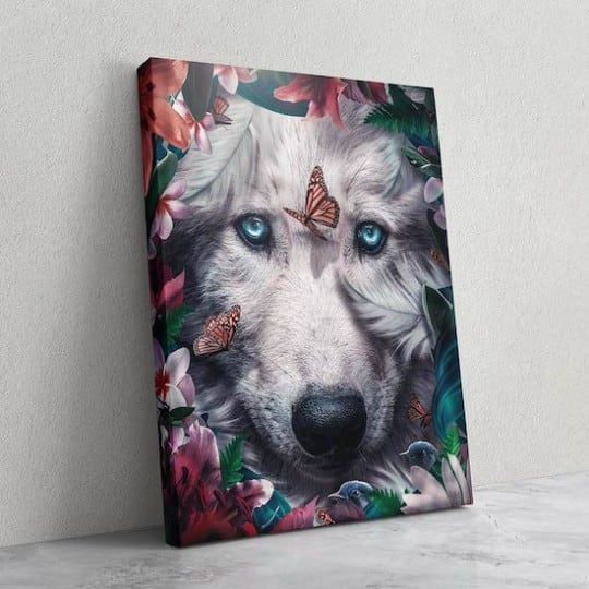 Wolf animal wall art with flowers for a wild wall decoration