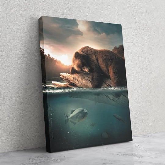 Tableau design d'ours en pleine nature pour créer une déco murale sauvage