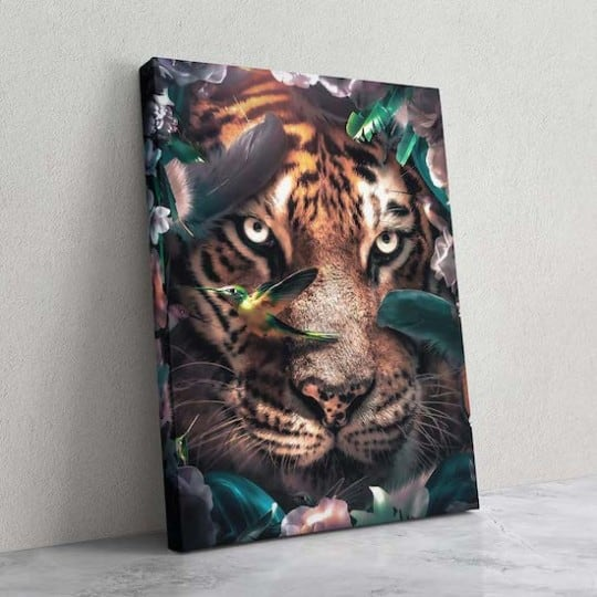 Modern tiger canvas print with a floral aspect for an animal wall decoration