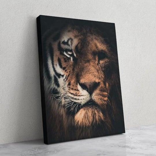 Tableau de tigre et lion pour un portrait design de notre artiste