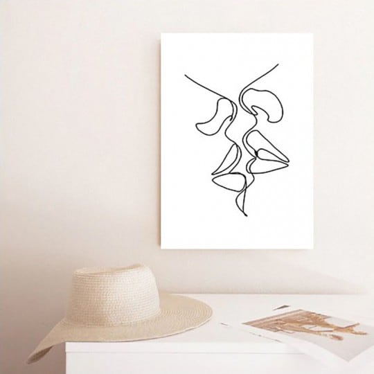 Line art canvas of a kiss for a sensual wall decoration