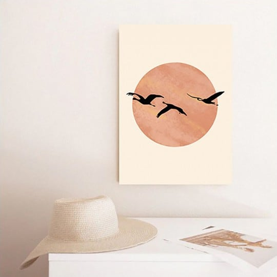 Line art canvas print of pink flamingo with beautiful colors for wall decoration