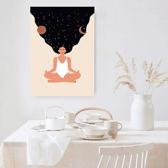 Line art canvas print with a cosmic girl for a trendy wall decoration