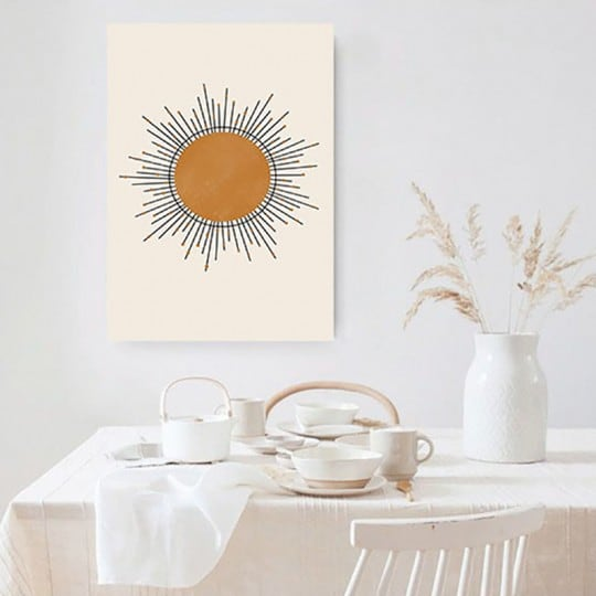 Boho line art canvas print of the sun with lights for an unique wall decoration