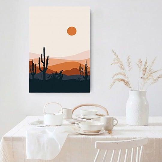 Line art canvas print of a cactus landscape for interior decoration