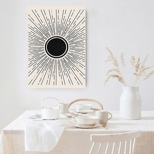 Bohemian wall canvas of a black sun for your wall decoration