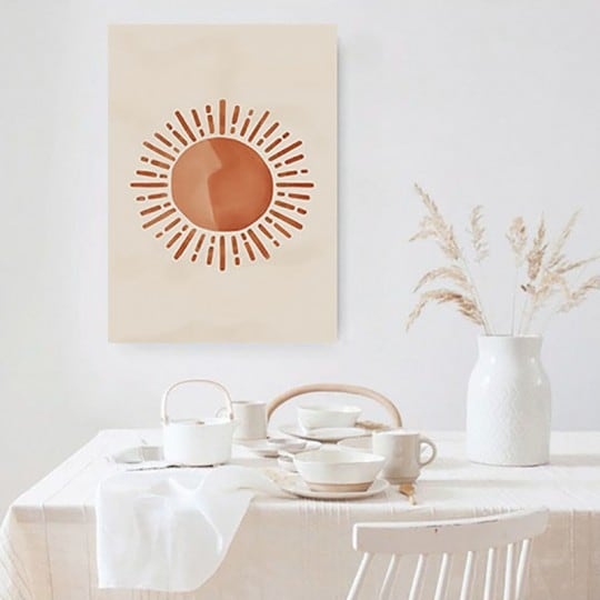 Contemporary canvas print of the sun for a boho wall decoration