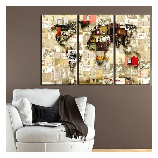 Banksy world map canvas print for a design wall decoration