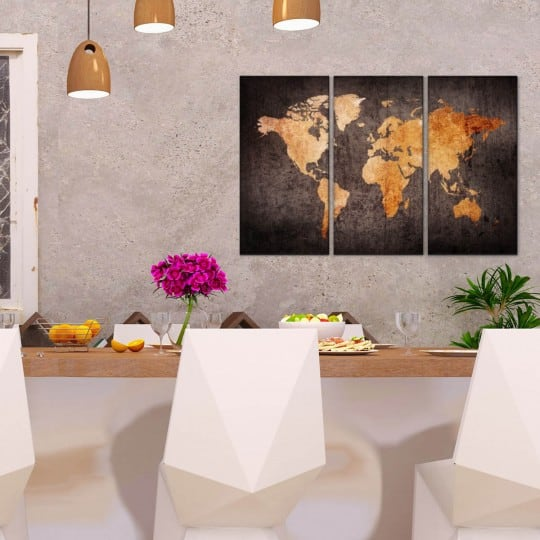 World map canvas with an orange color for your wall decoration