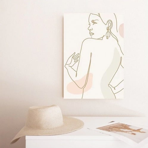 Contemporary canvas print in line art style of a feminine sketch for your wall decoration