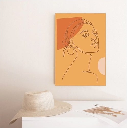 Line art canvas print of a woman in a contemporary portrait for your wall decoration