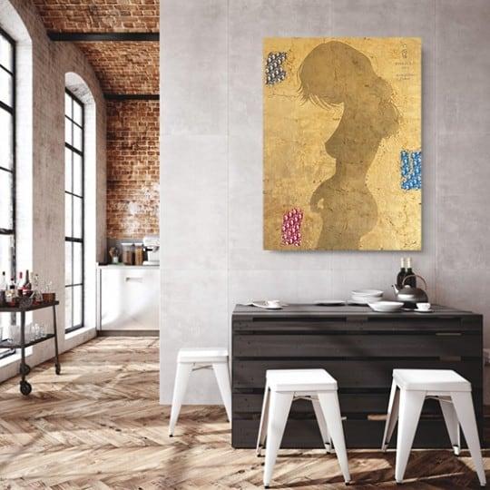 Tableau contemporain lingot de l'artiste Gab avec une femme en or
