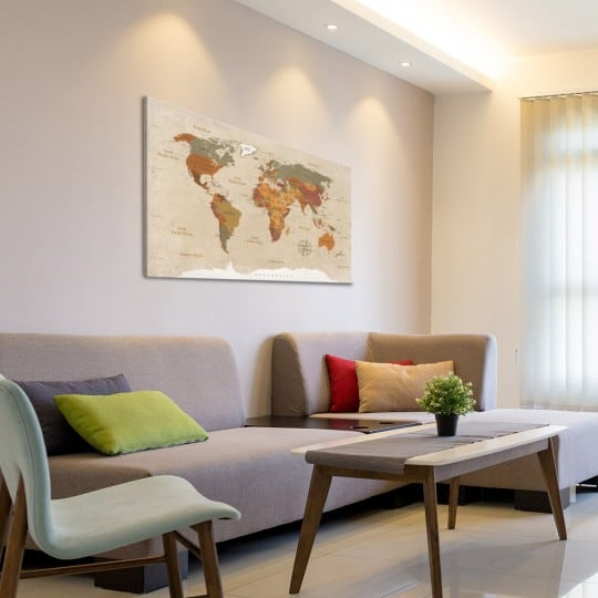 Canvas print of the world map decoration with light colors for home decoration