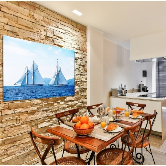 Sailboats on a design wall decoration for sea interior